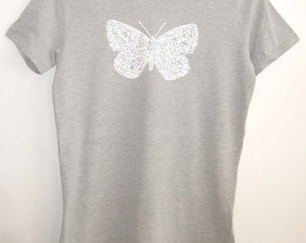 SALE White Butterfly insect print womens grey brushed jersey printed Fair Wear T shirt