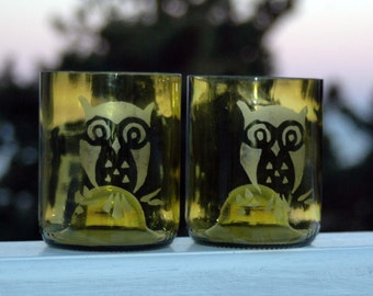 Etched Owl Yellow Ochre Wine Bottle Glasses - 2
