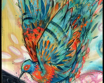 Bird Art Print - Colorful Art - Bird Wall Art - Mixed Media Art - Taste My Sweet Nectar
