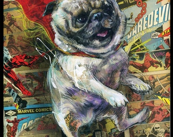 """Pug Art Print - Dog Wall Art With Comic Book Collage - """"Power Pug!"""" by Black Ink Art"""