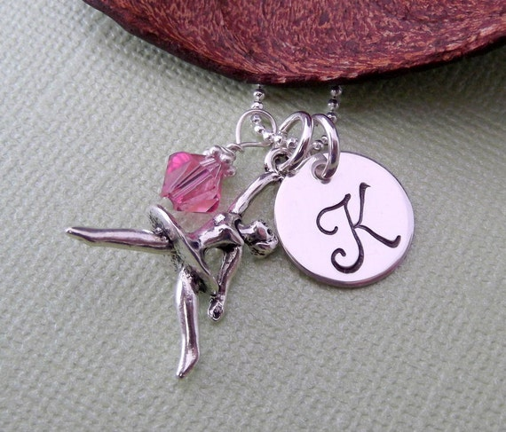Ballerina Necklace with Initial Charm and Birthstone- Ballerina Charm Necklace- Ballet- Personalized Children's Jewelry
