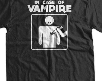 Funny Vampire T-shirt in case of Vampires Halloween blood gothic fangs believe Mens Womens Ladies Youth Kids Geek Funny