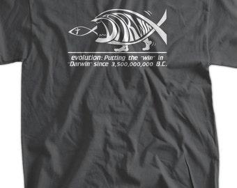 Darwin Evolution Geek Nerd Science Tee Shirt T Shirt  Mens Ladies Womens Youth Kids