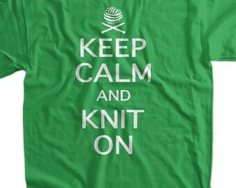 Knit Knitting Yarn Needles Crafting Keep Calm and Knit On Tshirt T-Shirt Tee Shirt Mens Womens Ladies Youth Kids Geek Funny