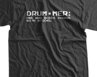 Definition of a Drummer Screen Printed T-Shirt Mens Ladies Womens Youth Funny Music Geek Drum Drummer Rock Retro