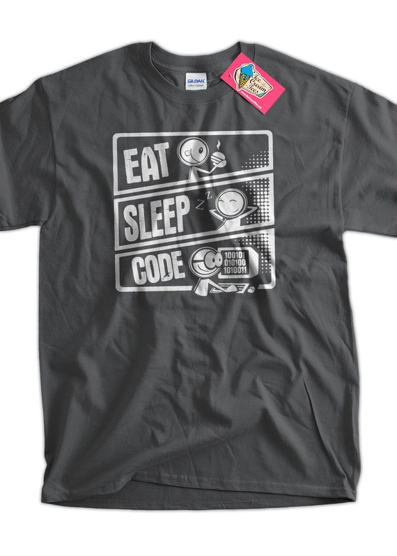 Eat Sleep Code V3 programmer T-Shirt Code Cartoon Geek Computer Gifts for Dad Screen Printed T-Shirt Tee Shirt T Shirt Mens Ladies Womens