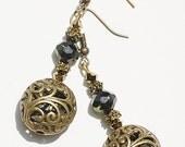 Antique Brass & Olivine Crystal Earrings