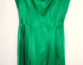 vintage green satin silk 50s mad men swing full skirt PARTY DRESS rosettes floral small ld-1559