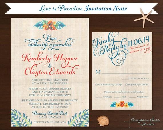 Elopement Wedding Invitations: Items Similar To Tropical Wedding Invitation Suites