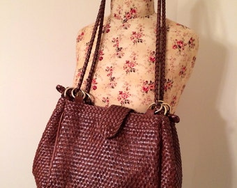 Vintage 1980s Brown Woven Purse by MC Shoulder Bag Braided Strap Brown Red Neutral Bag