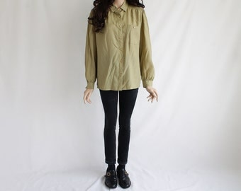 70s Vintage Light Olive Button-Up Blouse for Women