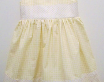 Pale Yellow and White Polka Dot and Gingham 100% Cotton Eco Dress - Girls 2T