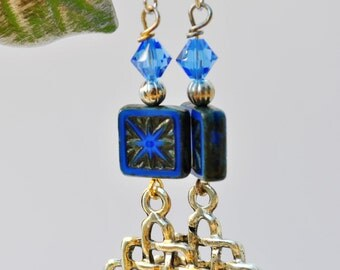 Czech glass square Blue Earrings with blue Swarovski crystals and silver criss cross diamond dangles