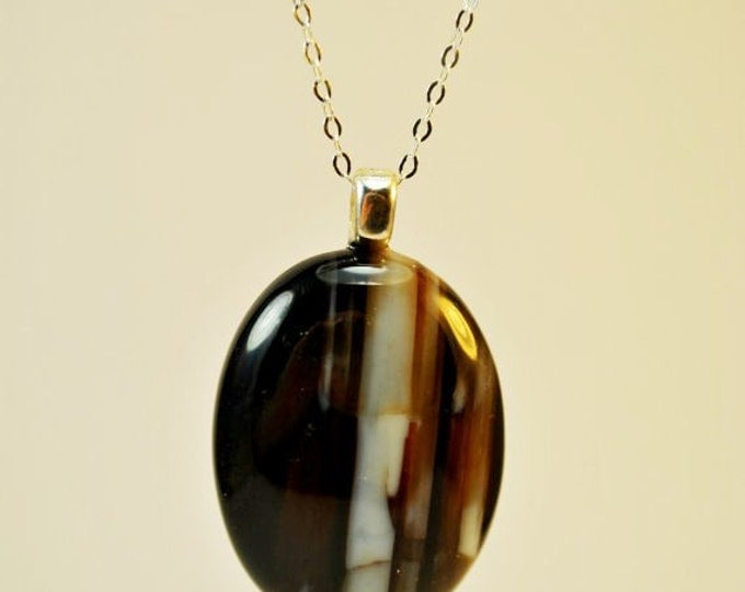 Necklace of Black and White striped Agate Stone on Sterling Silver chain