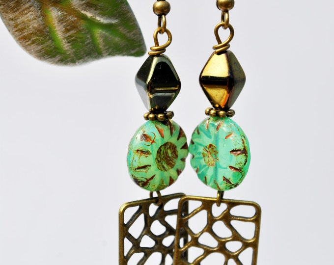 Teal Blue Flower Czech glass earrings with carved brass rectangles and bronze diamond metallic beads