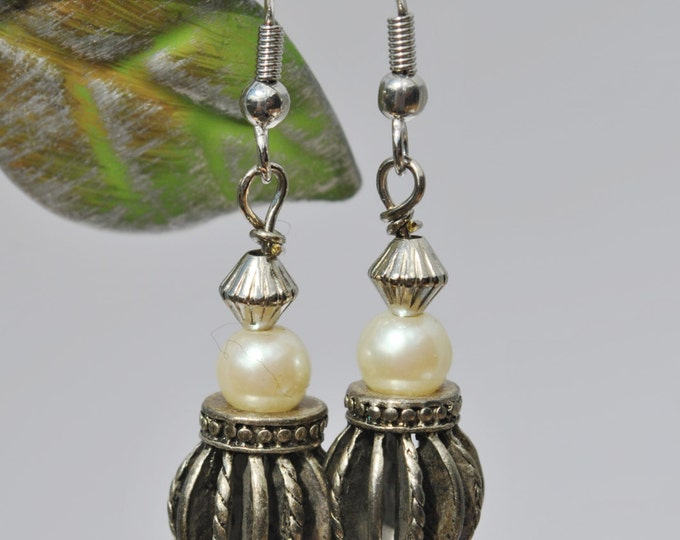 Unique White Pearl Earrings with silver tone beads