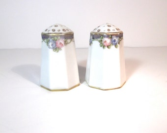 Vintage Handpainted Nippon Octagonal Floral Salt and Pepper Shakers, Gold-Rimmed, Made in Japan, Shabby Chic