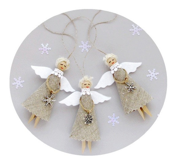 Christmas ornaments burlap angels set of rustic