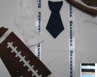 SEATTLE SEAHAWKS inspired football outfit for baby boy - tie bodysuit with suspenders, crochet hat, leg warmers