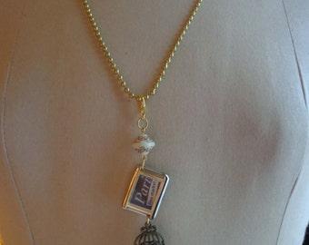 """SALE Altered Art Necklace """"Paris Flea Market"""" - ECS"""