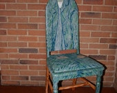 Van Gogh self portrait upcycled chair painted by Artist Todd Fendos