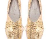 Gold Flats // Shiny Leather Oxfords // SALE 30% Discount Woman's Gold Lace-Up Leather Flats