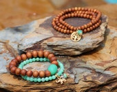 Tree of Life on Sandalwood, Triple Wrap Bracelet or Necklace, Chrysoprase Dangle, Yoga Style, Boho Chic, Indian Sandalwood, Trendy