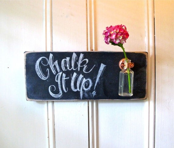 Chalkboard Wall Flower Vase, Distressed, Rustic, Antique Bottle, Kitchen Decor, Signage, Home Decor, Gift
