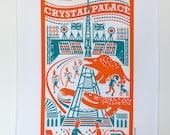Crystal Palace dinosaur tea towel