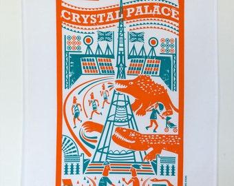 Crystal Palace Tea Towel | London illustration | Dinosaur tea towel | Crystal Palace print | South London print | Housewarming gift