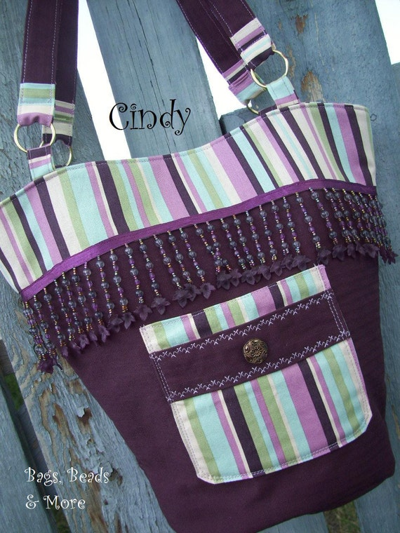 Purple Tote  with Beaded Fringe and Pockets