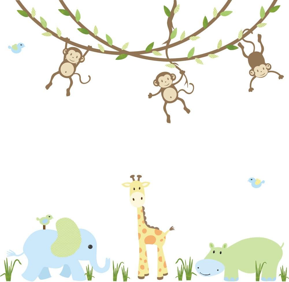 monkey vine wall decal safari animal stickers monkey wall zoom