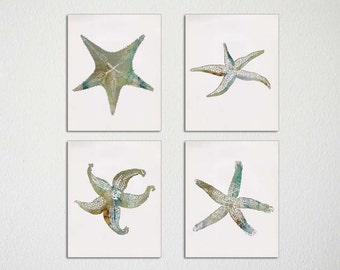 Starfish Wall Art, Set of four, Sea Star, Starfish Print, Autumn Wall Art, Fall Colors, Beach House Decor, Tropical Wall Art