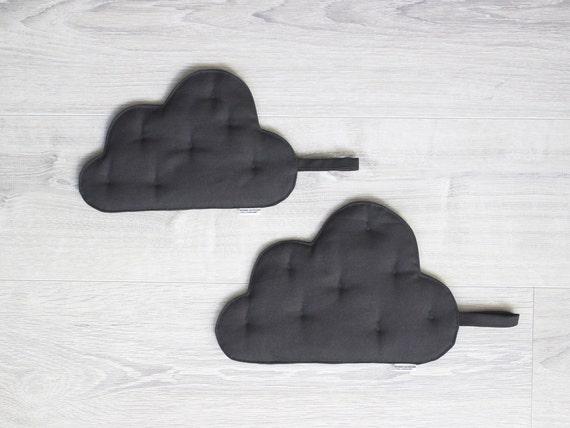 Pot holders Set of 2 clouds Grey cotton canvas Storm clouds Kitchen Pot Holders & Trivets