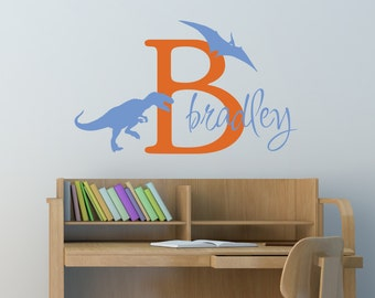 Dinosaur Decal - Wall decals - Dinosaur Decal - Kids Name - Boys room decal - Personalized Decal - Kids Decals - Decals - Vinyl decals