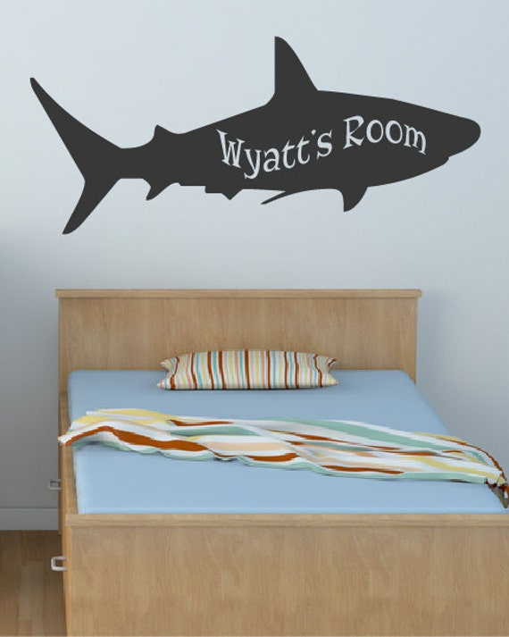 kid 39 s name shark sea animal decal wall decals ocean. Black Bedroom Furniture Sets. Home Design Ideas