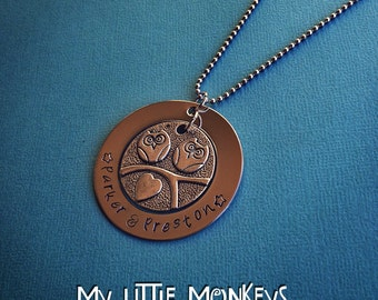 """Custom Hand Stamped Owl Necklace - 1 1/4"""" Washer with Owl Charm"""