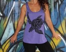 Sea Turtle Tank top - Black Eco-Friendly ink on 9 available American Apparel colors. Hawaii Honu tribal top. Sea turtle shirt. Oceanic flow.