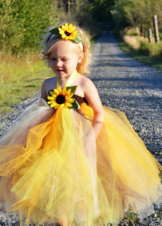 sunflower tutu dress wedding sunflower by tutullycutedesigns. Black Bedroom Furniture Sets. Home Design Ideas