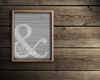Mr. and Mrs. His & Hers Ampersand Heart Wedding Present Gift - Bride and Groom Decor - First Names / Wedding Date - Love Art Print