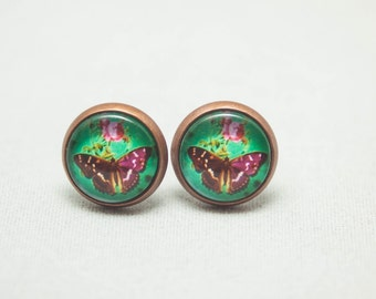 Glass Cabochon Earrings –Jewel Green Butterflies And Roses -Antique Copper Setting - One pair