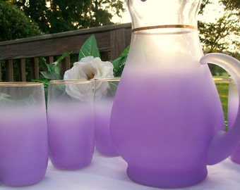 "NEW Vintage Mid-Century West Virginia Purple/ Lavendar BLENDO GLASS  Beverage Pitcher and 6 High Ball Tumblers ""Excellent"""