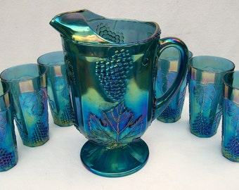 Indiana Glass ( 7 Piece )  BLUE IRIDESCENT Carnival Glass Beverage Set Harvest Grape Pattern~Pitcher and 6 Large Tumblers~ Excellent Vintage