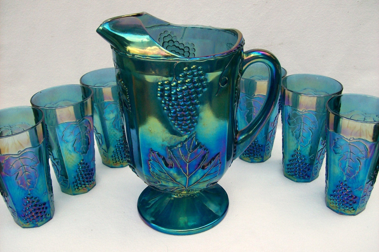 Blue Frosted Carnival Glass
