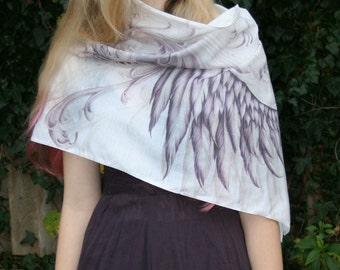woman wing scarf, shawl, purple, white and grey, stunning and useful, perfect gift