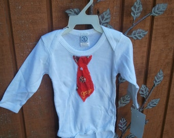 Long Sleeve S size Necktie Appliqued Onesie in Curious George print