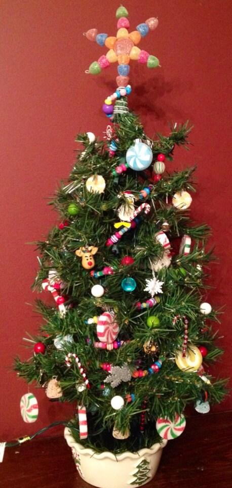 Handmade OOAK Sweet Treats Christmas Tree, Table Top Holiday Tree, Candy Tree