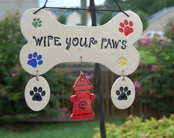 "Handcrafted Ceramic ""Wipe Your Paws"" Wall Plaque, Wipe Your Paws, Paw Sign, Dog Lover, Dog Sign, Bone Sign, Bone Wall Hanging, Dog Art, Bone"