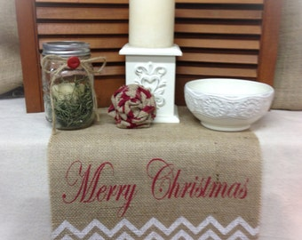 Burlap Table Runner with Merry Christmas & a Chevron pattern - Christmas runner Holiday decorating