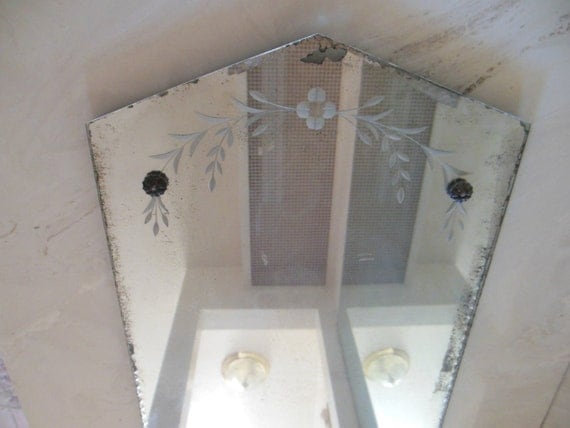 Etched And Beveled Mirror Vintage Antique Shabby Chic Wall